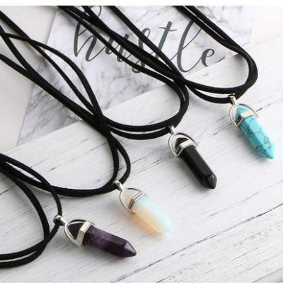 Natural Crystal Stone rope chocker Pendant Necklace