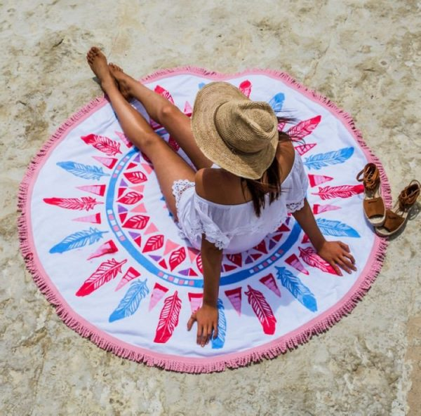 Feathers Roundie Beach Blanket With Fringe