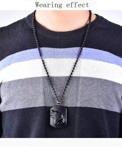 Black Obsidian Wolf Pendant Necklace