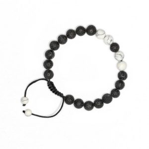 White Howlite Lava Stone Bracelet with Adjustable Cord