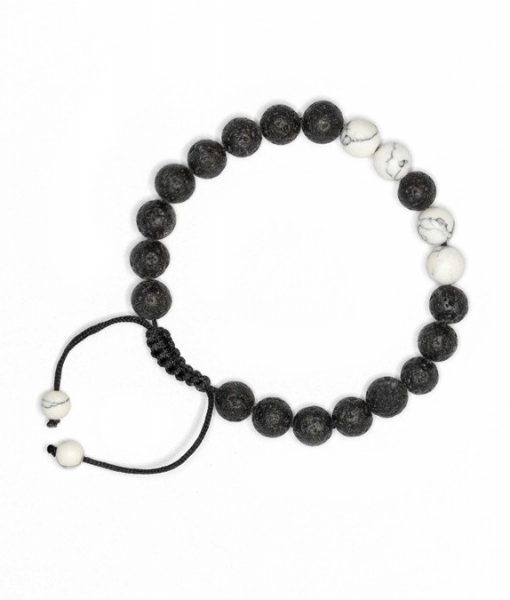 White Howlite Lava Stone Bracelet with Adjustable Cord