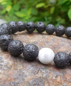 White Howlite Lava Stone distance Bracelet