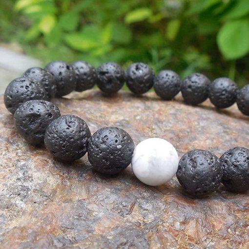 White Howlite Lava Stone diffuser Bracelet