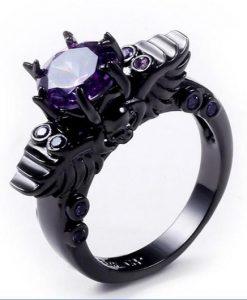 Dark Princess Black Amethyst Skull Ring Princess