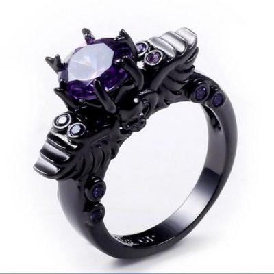 Dark Princess Black Amethyst Skull Ring Princess
