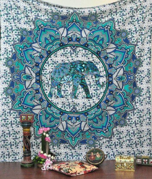 goddess mandala throw blue