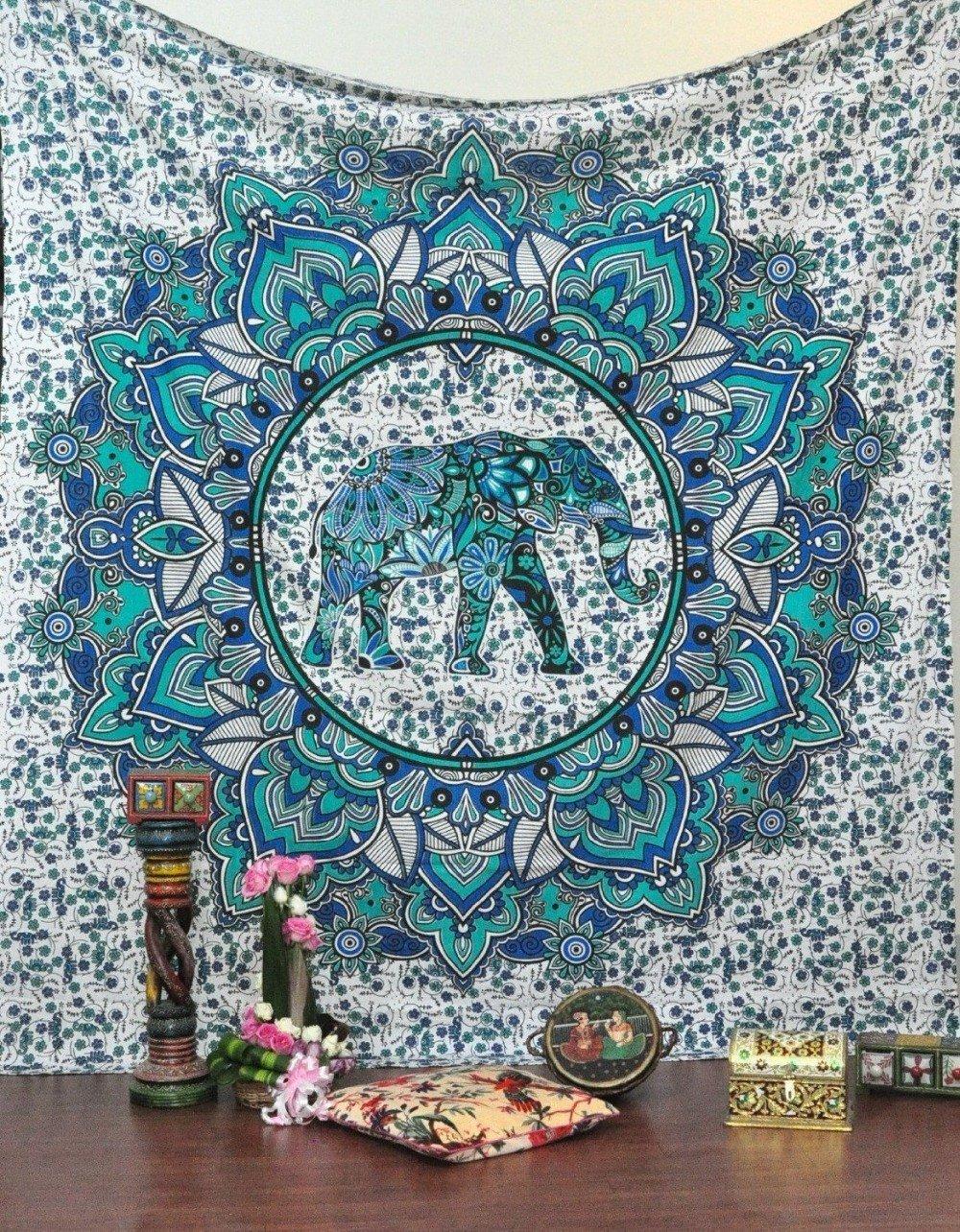 Elephant mandala symbolism the yoga mandala store blue elephant mandala tapestry buycottarizona Choice Image