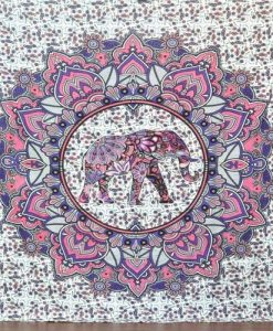pink elephant mandala tapestry