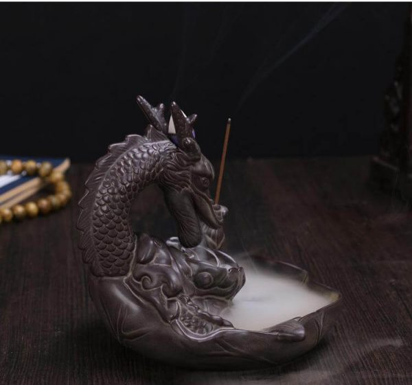 smoke breathing dragon incense burner image