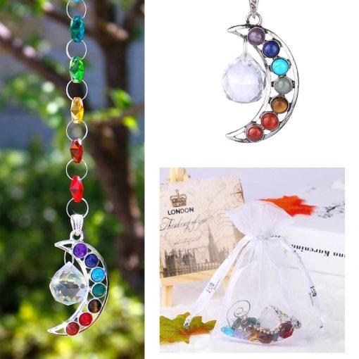 half moon chakra crystal prism suncatcher