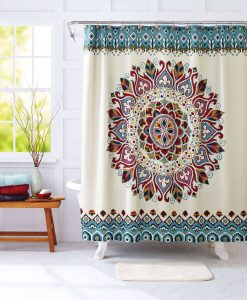 medallion print mandala shower curtain image cover