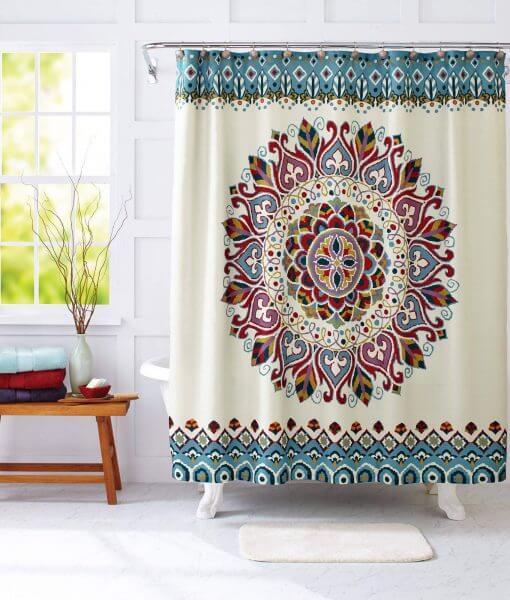 medallion print mandala shower curtain image cover