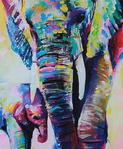 mother baby elephant oil canvas
