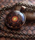 sri yantra necklace pendant mounted on a high-quality glass gem.