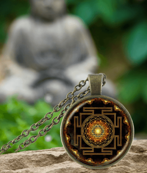 chakra indian item long buddha necklace mandala pendant photo religion buddhist jewelry spiritual amulet glass dome
