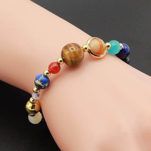 Eight Planets Solar System Natural Stone Beads Bracelet