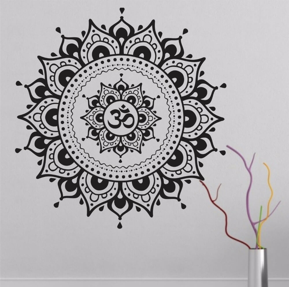 Big Mandala Lotus Flower Wall Decal Vinyl Art Sticker The Yoga