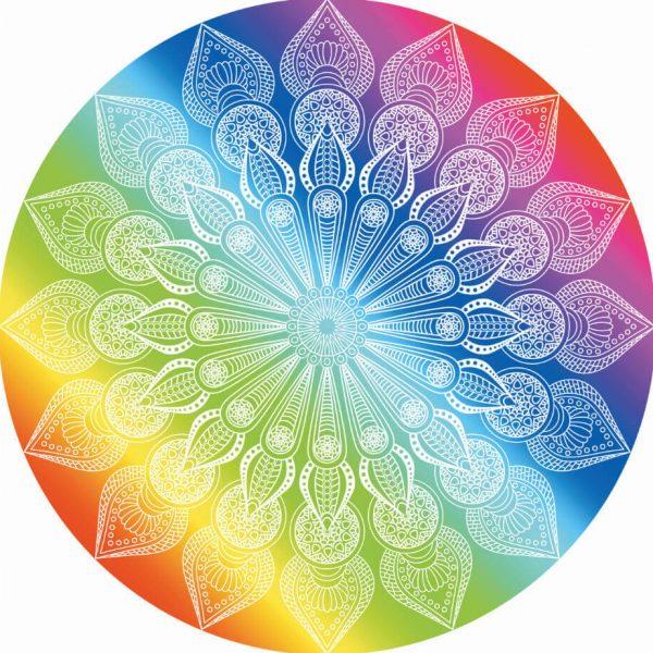 round rainbow chakra blanket image