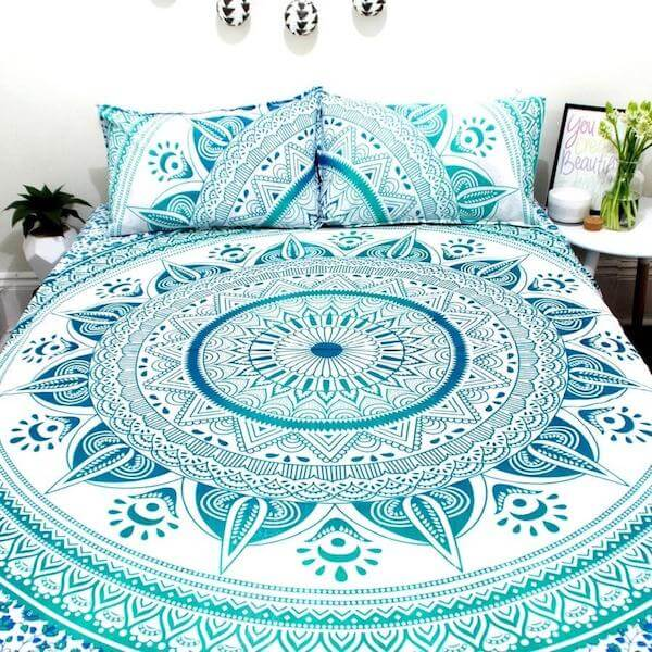Turquoise Ahimsa Mandala Bedding Set