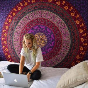 handmade Purple Plum Bow Medallion Mandala Tapestry featuring a center Mandala with round circle rings in various elegant colors