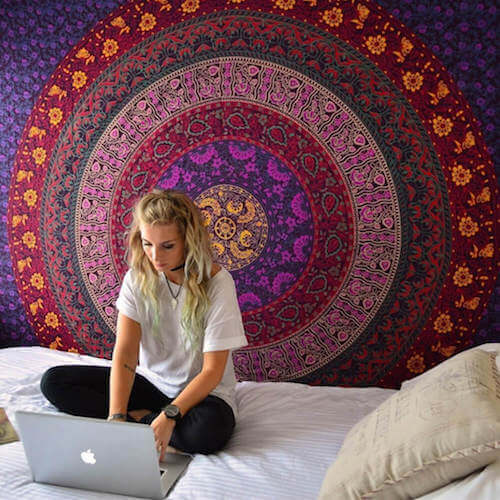 Handmade Purple Plum Bow Medallion Mandala Tapestry