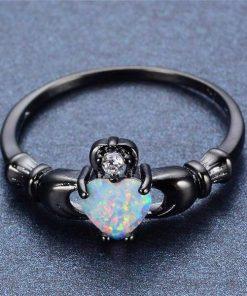 black Fire Opal Heart Ring