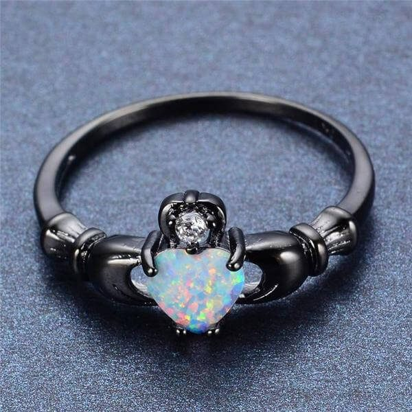 black Fire Opal Heart Ring