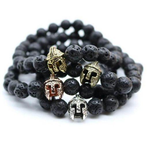 black-lava-stones-roman-gladiator-bracelet image