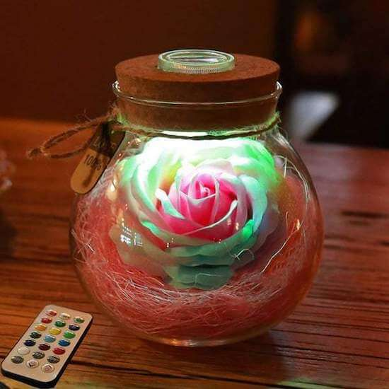 Bloom Led Rose Bottle Lamp