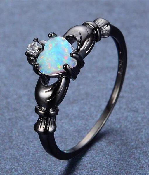 engagement Fire Opal Heart Ring