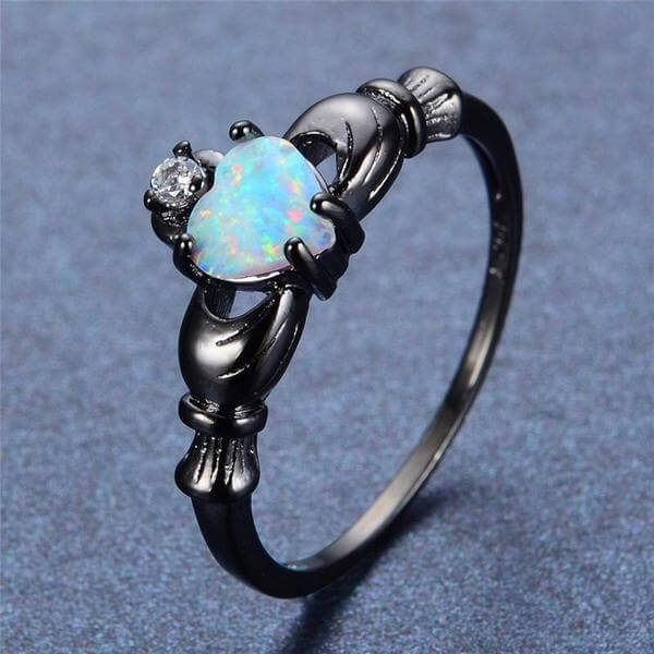 engagement Fire Opal Heart Ring