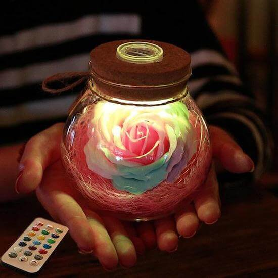 Bloom - Led Rose Bottle Lamp