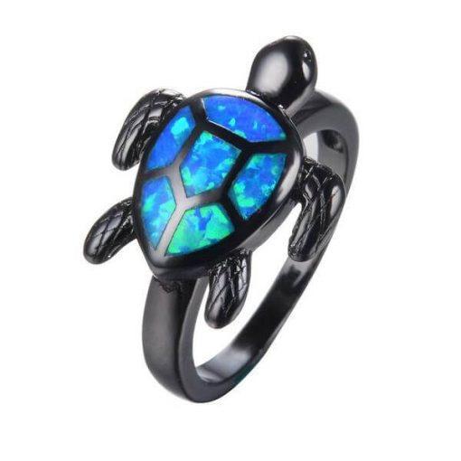 ocean-blue-fire-opal-turtle-ring image