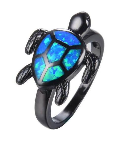 ocean-blue-fire-opal-turtle-ring image