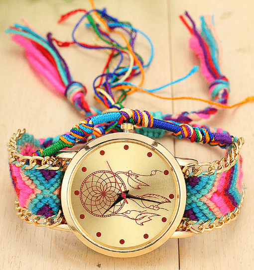 rainbow braided dreamcatcher watch