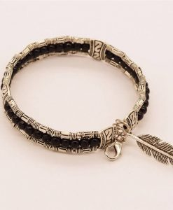 women-black-lucky-feather-bracelets