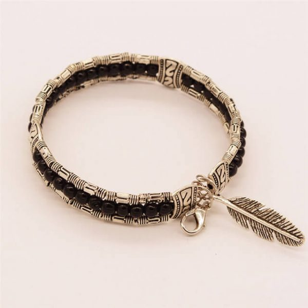 Lucky Beaded Bracelet With Feather Pendant