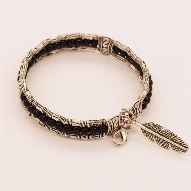 Silver Feather Pendant Beaded Bracelet