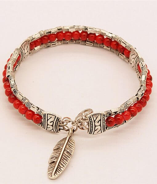 women-red-lucky-feather-bracelets