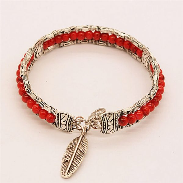 women-red-lucky-feather-bracelets