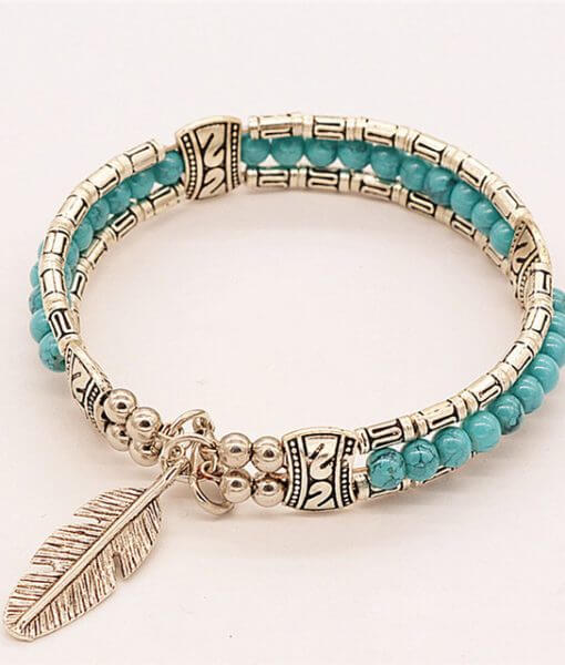 women-turquoise-lucky-feather-bracelets