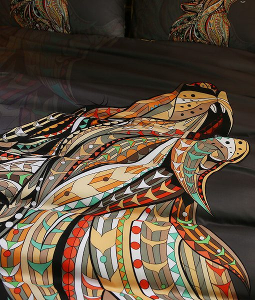 Howling-Wolf-Head-Indian-Totem-Tattoo-3-Piece-Bedding