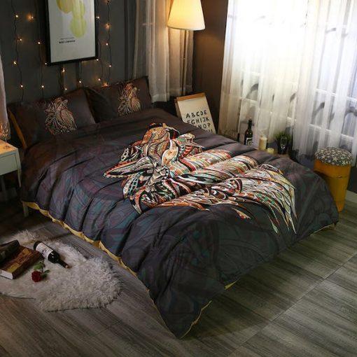 Mandala Twin Wolf Bedding Set 3 Pieces