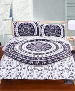 black-white-elephant-mandala-bedspread-pillowcases