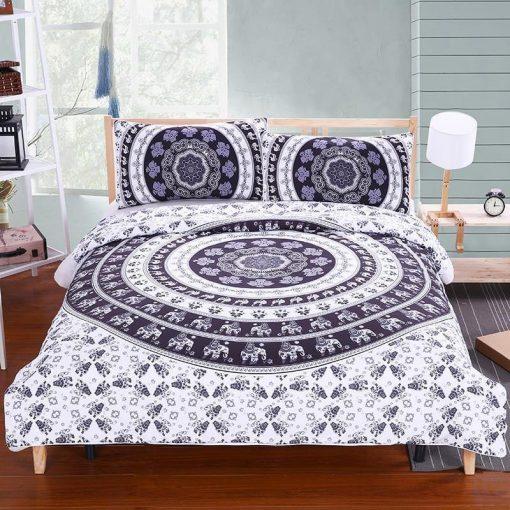black-white-elephant-mandala-bedspread-pillowcases