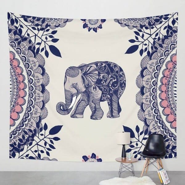 Indian Elephant Mandala Wall Hanging Tapestry