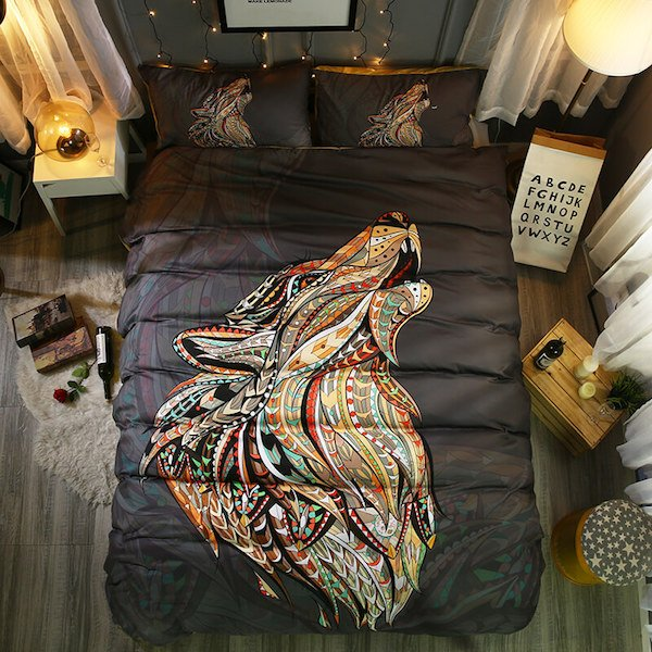 colorful mandala wolf bedding set 3 pcs the yoga mandala shop. Black Bedroom Furniture Sets. Home Design Ideas
