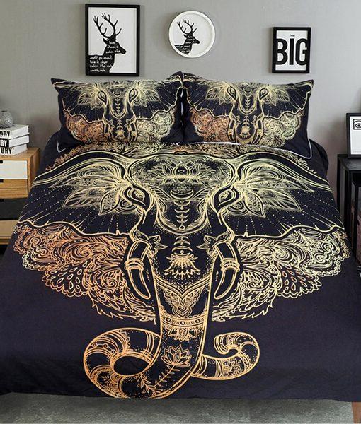 golden-black-tribal-elephant-head-bedding-set