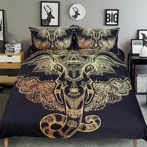 Golden Black Tribal Elephant Head Bedding Set
