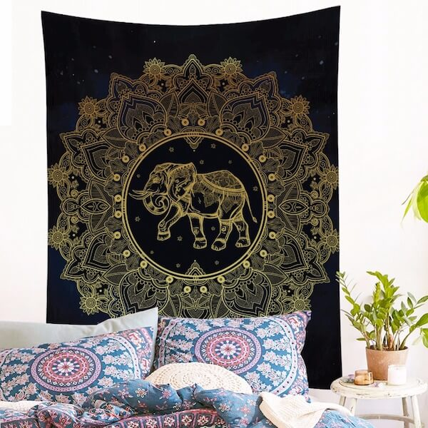 Golden Printed Indian Elephant Wall Hanging